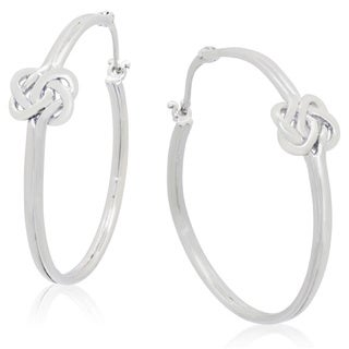 Gioelli Sterling Silver Love Knot Hoop Earrings