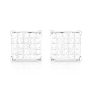 Luxurman 14k White Gold 1 3/8ct TDW Square Diamond Stud Earrings (H-I, SI1-SI2)