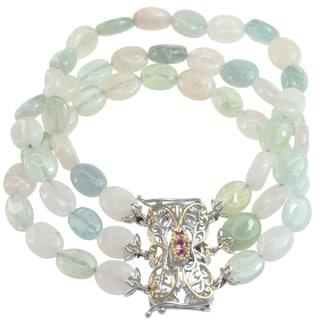 Michael Valitutti Two-tone Multi-colored Beryl Bead, Pink Tourmaline and Pink Sapphire Bracelet