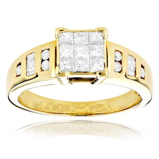 14k Yellow Gold 4/5ct TDW Invisible-set Diamond Ring (H-1, SI1-SI2)