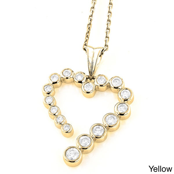 Luxurman 14k Gold 3/4ct TDW Diamond Journey Heart Charm Necklace