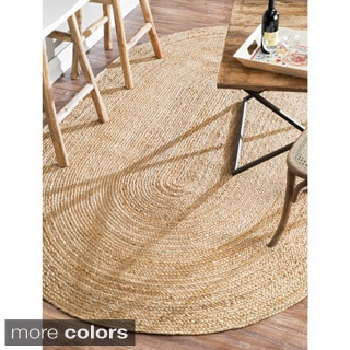 nuLOOM Alexa Eco Natural Fiber Braided Reversible Jute Rug (3' x 5' Oval)