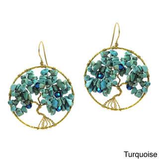 Sparkling Garden Stone Tree of Life Brass Earrings (Thailand)