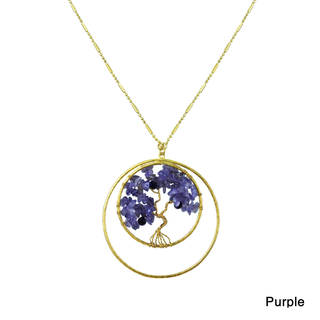 Inspiring Tree of Life Stone Double Circle Brass Necklace (Thailand)
