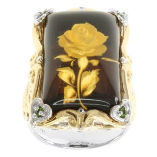 Michael Valitutti Two-tone Carved Amber 'Rose' and Chrome Diopside Ring