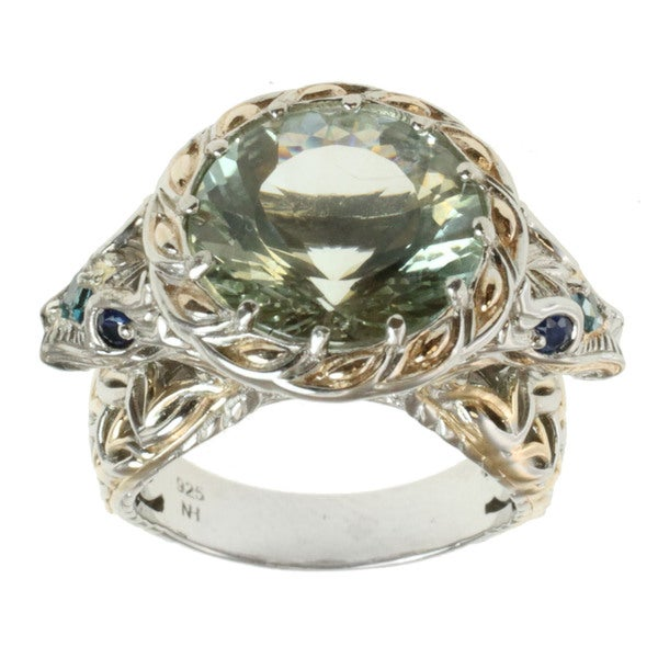 Michael Valitutti Two-tone Green Amethyst, Blue Topaz and Blue Sapphire 'Dragon' Ring