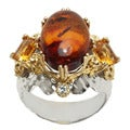 Michael Valitutti Two-tone Amber, Citrine and White Sapphire Ring