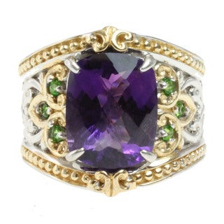 Michael Valitutti Two-tone Amethyst and Chrome Diopside Ring