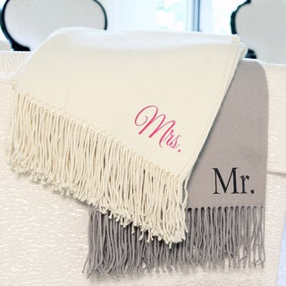 Mr. and Mrs. Fringed Throws (Set of 2)