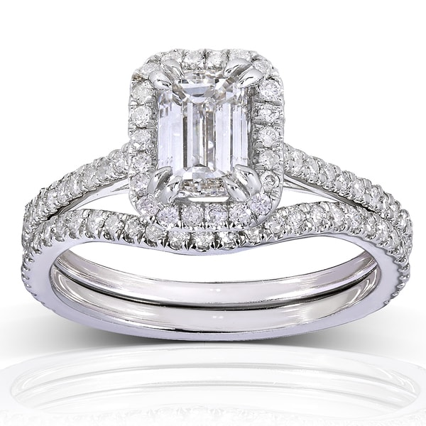 Annello 14k White Gold 1 1 2ct TDW Emerald cut Halo Diamond Bridal Rings Set