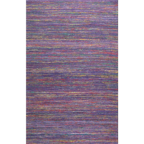 Handmade Textured Sari Silk Purple Rug