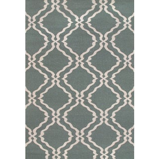 Hand-woven Moroccan Trellis Dhurrie Light Teal Wool Rug (5' x 8')