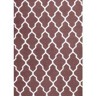 Hand-woven Moroccan Trellis Brown Wool Rug (8' x 10')