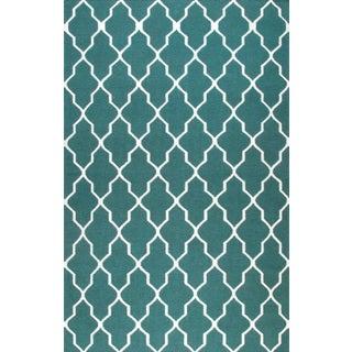 Hand-woven Blue Wool Rug (8' x 10')