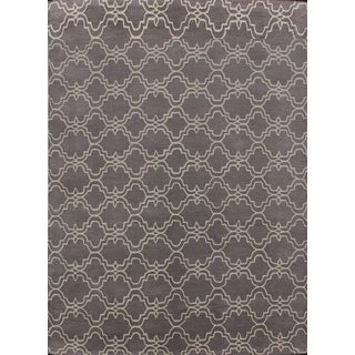 Handmade Moroccan Trellis Scroll Grey Wool Rug (9' x 12')