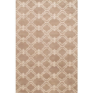 Handmade Tufted Scroll Tile Rug Mocha Wool Rug (9' x 12')