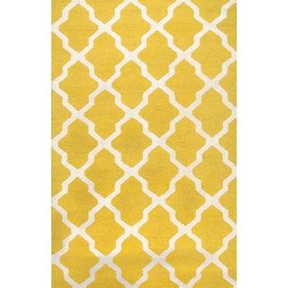 Handmade Moroccan Trellis Yellow Ivory Wool Rug (9' x 12')