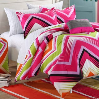 Chic Home Ziggy Zag Fuchsia Reversible Dorm Room Bedding Set