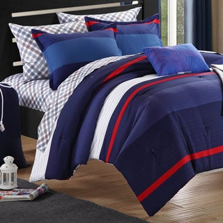 Chic Home Trevor Printed Colorblock Dorm Room Bedding Set