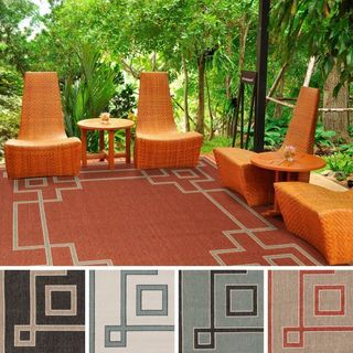 Meticulously Woven Odette Contemporary Geometric Indoor/ Outdoor Area Rug (8'9 Square)