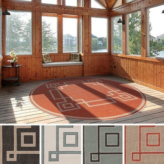 Meticulously Woven Odette Contemporary Geometric Indoor/Outdoor Area Rug (8'9 Round)