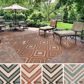 Meticulously Woven Jasmine Contemporary Geometric Indoor/Outdoor Area Rug (8'9 Square)