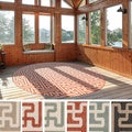 Meticulously Woven Nikki Contemporary Geometric Indoor/Outdoor Area Rug (8'9 Round)