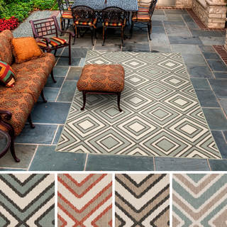 Meticulously Woven Jasmine Contemporary Geometric Indoor/Outdoor Area Rug (7'6 x 10'9)