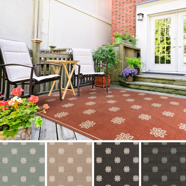 Outdoor 5x8 Area Rug: Meticulously Woven Jenna Contemporary Floral Indoor
