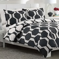 City Scene Obsidian Reversible Cotton 3-piece Duvet Cover Set