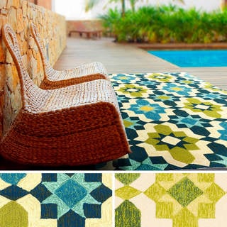 Hand-Hooked Alexis Contemporary Geometric Indoor/ Outdoor Area Rug (8' x 10'6)