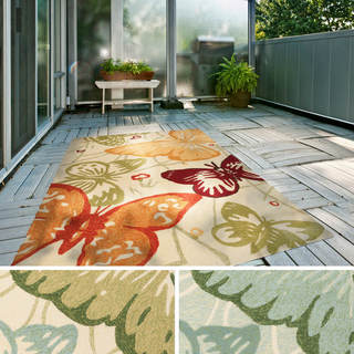 Hand-Hooked Melody Transitional Butterfly Indoor/Outdoor Area Rug (8' x 10'6)