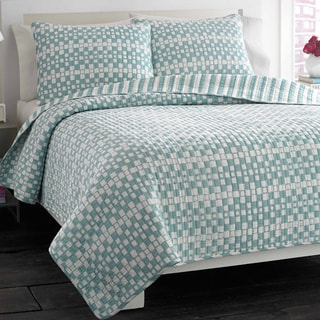 City Scene Square Game Lagoon Reversible Cotton 3-piece Quilt Set