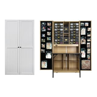 The Craftbox White Beadboard Storage Armoire