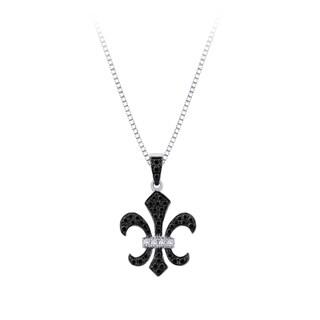Sterling Silver 1/4ct TDW Diamond ''Fleur-De-Lis'' Milgrain Pendant