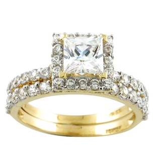 10k Yellow Gold Princess-cut Cubic Zirconia Engagement Ring Set