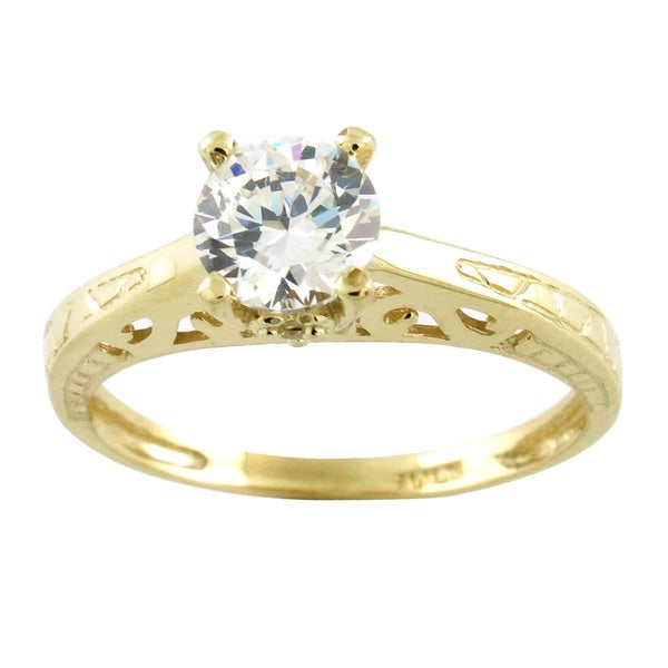 10k Yellow Gold Round-cut Cubic Zirconia Solitare Engagement Ring