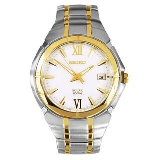 Seiko Men's SNE088P1 Solar White Dial Two-tone Stainless Steel Watch