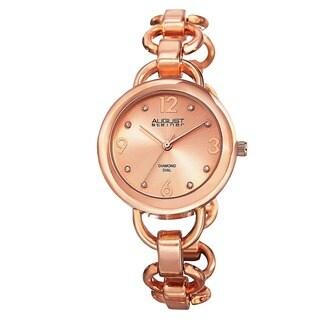 August Steiner Ladies Diamond Accented Dial Swiss Quartz Chain-Link Bracelet Watch
