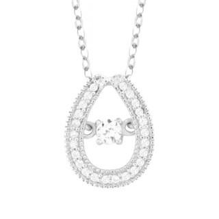 La Preciosa Sterling Silver Dancing Round-cut Cubic Zirconia Teardrop Pendant Necklace