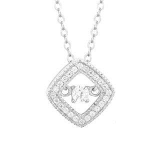 La Preciosa Sterling Silver Dancing Cubic Zirconia Square Pendant Necklace