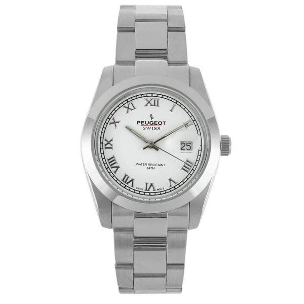 Peugeot Women's Swiss Silvertone Roman Numeral White Dial Watch