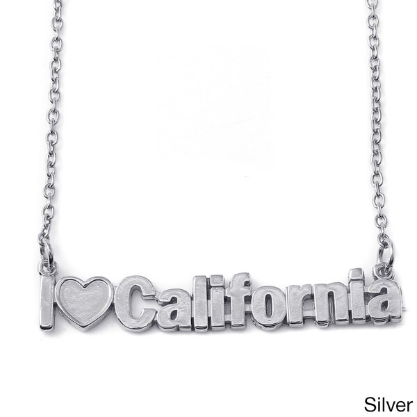 Gold Over Silver or Sterling Silver 'I Love California' Nameplate Necklace