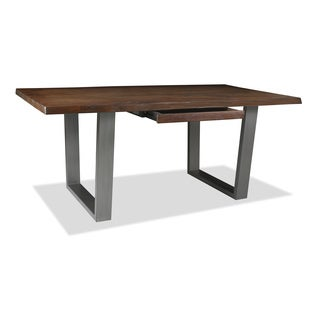 Soho Live Alder Hardwood and Wrought Iron Edge Desk with Drawer