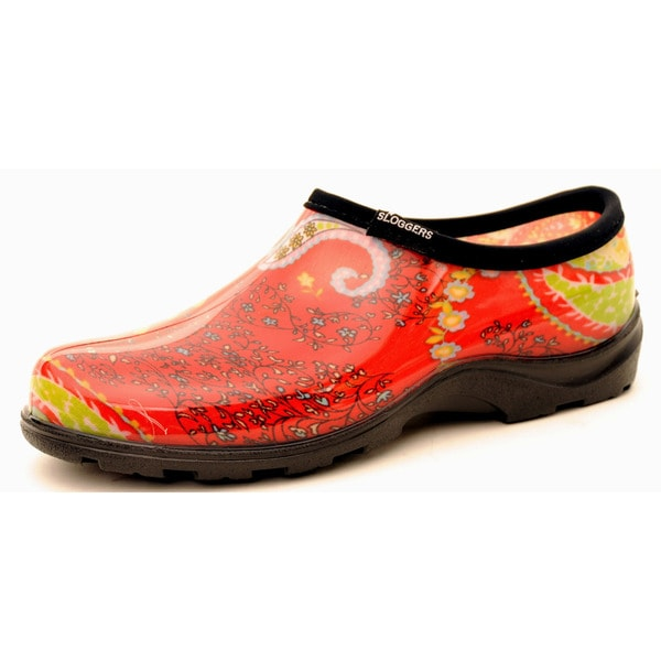 Garden Outfitters Women's Paisley Red Rain and Garden Shoes (Size 6)