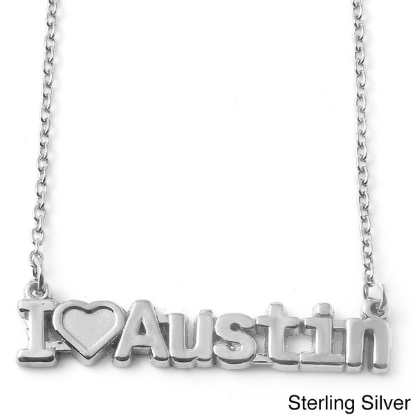 Sterling Silver 'I Love Austin' Pendant Necklace