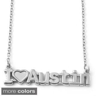 Sterling Silver 'I Love Austin' Pendant Necklace