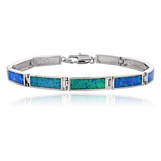 Glitzy Rocks Silvertone Created Blue Opal Bar Link Bracelet