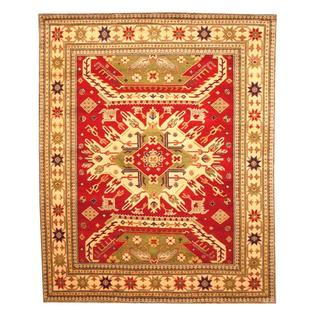 Herat Oriental Indo Hand-knotted Kazak Red/ Ivory Wool Rug (8' x 10')