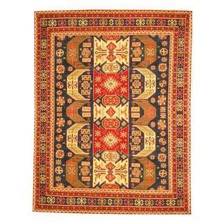 Herat Oriental Indo Hand-knotted Kazak Navy/ Red Wool Rug (8' x 10')
